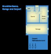 Grundriss Sauna, Garage, Carport